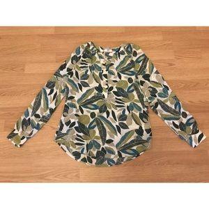 Banana Republic Leaf Pattern Long Sleeve Shirt Sm